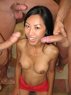 Big titty Asian slut Tia Ling gets covered in cum!