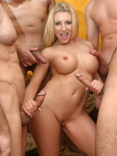 Busty Blonde Vivian West Swallows Cum!