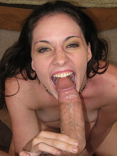 Sexy and Silly Brunette Hunter Cherri Giving a POV Blowjob