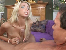 Sammie Rhodes gets a big load in the face...