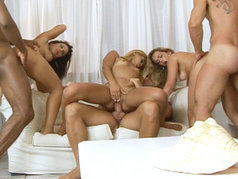 Hot interracial group action..