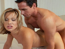 Hot Blonde Babe Jessica May Gets Her Face Covered By Peter North's Massive Load!