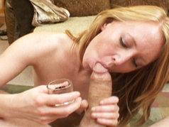 Redhead Ami Emerson Drinks A Cum-Shot!