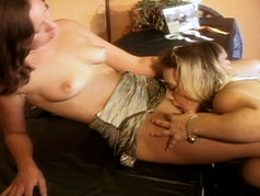 Horny Lesbians!  Blonde and Brunette All Over Each Other