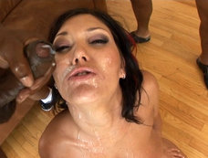 Claire Dames Sucks and Fucks in a Gang Bang with a Bukkake Ending