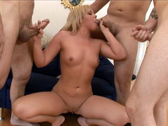 Emma Hart aka Riley Winter in a Blowjob Gang Bang
