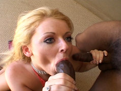 Sophie Dee Wears Cumshots after a Blowjob 2 on 1