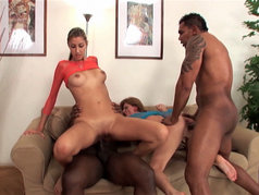 Olga Barz and Kitty Jane have Group Sex with Anal