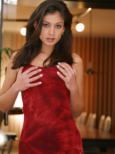 Lucy Lee wearing a sexy red dress gets naked...