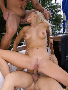 Double Penetration 2 on 1 with Sandra Russo on a Boat