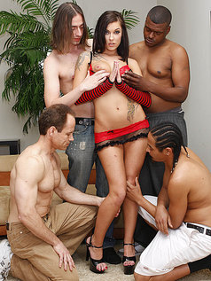Chayse Evans Soaked in Cumshots After a Blowjob Gang Bang