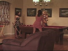 Three hot girls and a pool table