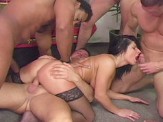 It takes five guys to fully satisfy such a naughty vixen...