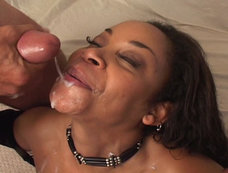 Blindfolded Black bitch with big large titties