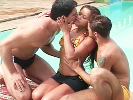 Marcelo and Pastro are hanging out by the pool when they are joined by Gabriela...