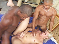 This tranny gets fucked by two black dudes...