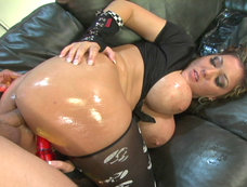 Claire Dames get her ass oiled and defiled...