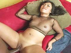Watch as filthy little Asian slut Kyanna gets fed a huge black cock...