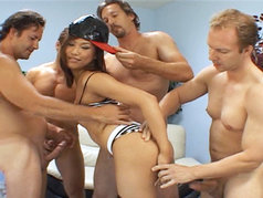 Oriental Hottie Veronica Lynn Gets A Surprise When These Four Studs Show Up!