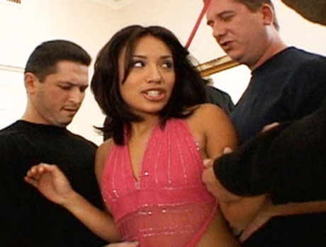 Latin Slut Jasmine Byrne Gets Seriously Fucked Up By Multiple Throbbing Cocks!