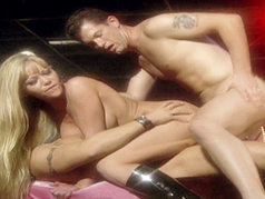 Julie Meadows Is Stripping On Stage When Two Studs Join Her And DP Both Her Holes!