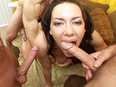 Dark Haired Babe Audrey Elson Sucks On A Whole Lot Of Cock Before Getting Her Face Plastered In Ball Butter!