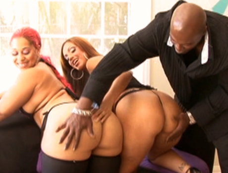 Ebony Babes Ice LaFox And Pinky Get Fucked By Lex's Huge Cock!