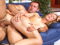 Pussy Cat Laps Up the Cumshot After Anal