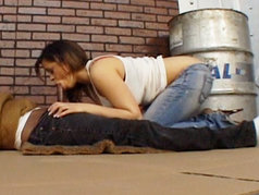 Chavon Taylor Gives a Bum a Blowjob and Swallows