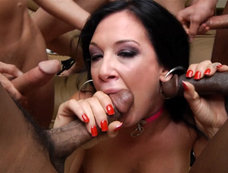 Tory Lane Gets Off and Wears Cumshots for a Blowjob Gang Bang