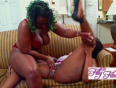 Chubby Ebony Lesbians Living their Strap On Fantasies